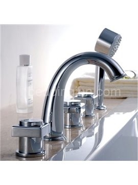 New Arrival Arc Chrome Finish Three Handles Waterfall Bathtub Faucet