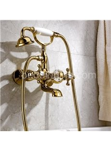 Antique Golden Double Handles Wall Mount Bathtub Faucet