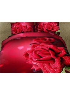 New Arrival Gorgeous Red Roses and Waterdrops Print 4 Piece Duvet Cover Sets