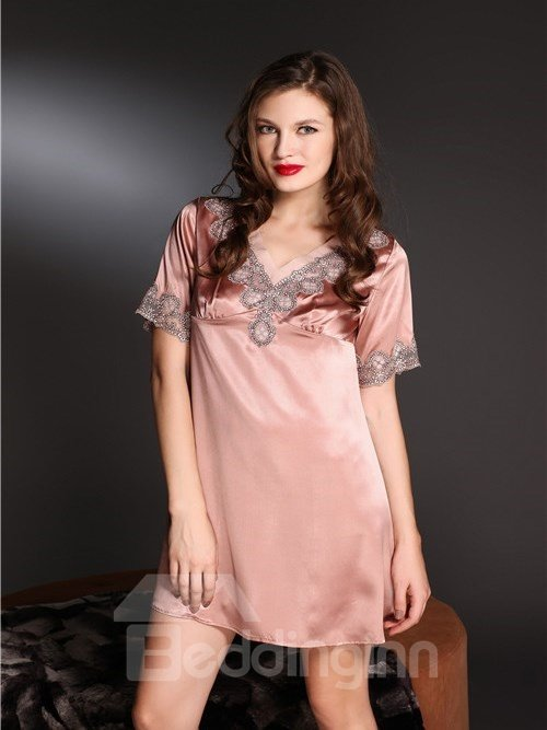 New Arrival High Quality Soft and Comfortable Lace Border Sleepwear