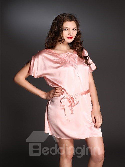 High Quality Embroidery Skincare Silk Sleepwear