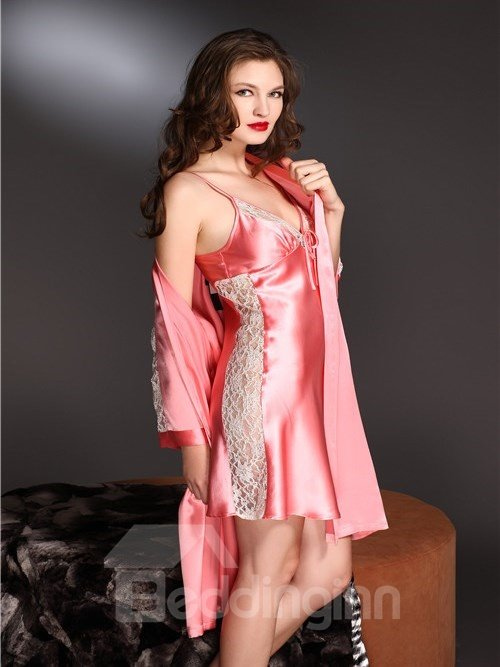 High Quality Beautiful Sexy Lace Skincare Mulberry Silk Sleepwear