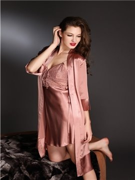 High Quality Graceful Lace Belt Skincare Mulberry Silk Sleepwear