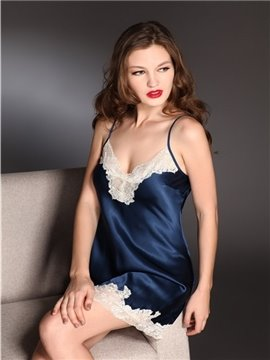 High Quality Sexy Lace Border Skincare Silk Sleepwear