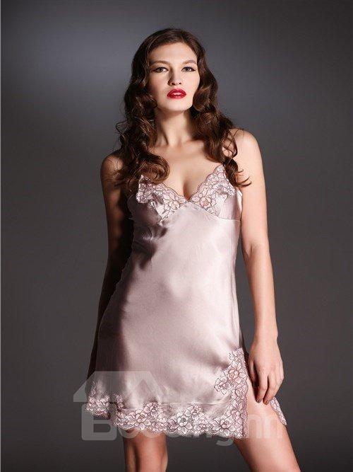 Appliqued  Lace & Silk   Deep V Loungewear