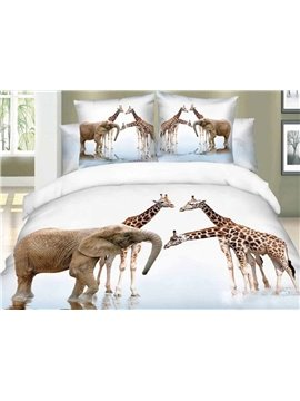 Beauty Nature of Giraffes and Elephants Walking on the River Print Duvet Cover Sets