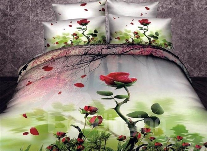 Red Rose and Cherry Branch Print Duvet Cover Sets