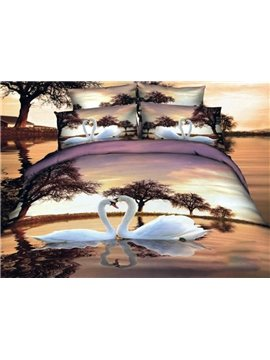 White Swan Couples on the Lake Print Duvet Cover Sets