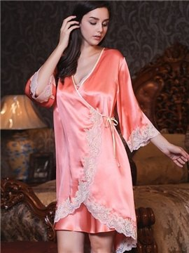 Appliqued Lace  border & Luxe Gorgeous Silk Nightwear