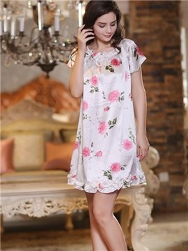 Sweet Princess Style Floral Print Delicate Sleepwear with Short Sleeves
