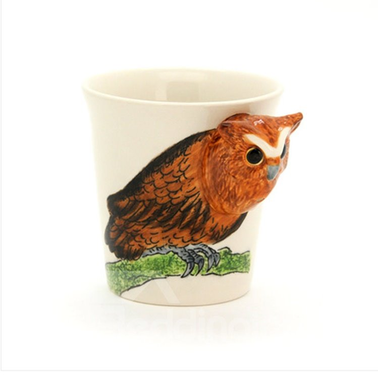 New Arrival Hand-painted 3D Ceramic Owl Creative Mug