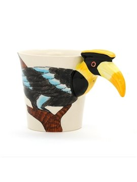 New Arrival Pretty Hand-painted 3D Ceramic Yellow-billed Hornbill Creative Mug
