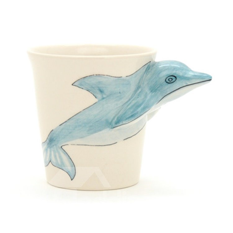 New Arrival Gentle Hand-painted 3D Ceramic Dolphin Creative Mug