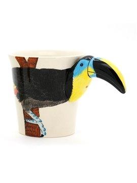 New Arrival Beautiful Hand-painted 3D Ceramic Hornbill Creative Mug