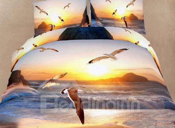 New Style Seagull Flying Over The Sea 4 Piece Bedding Sets