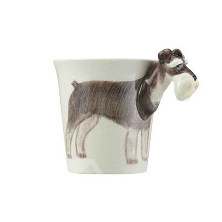 New Arrival Amazing Hand-painted 3D Ceramic Schnauzer Creative Mug