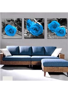 Elegant Blue Roses & Pearl Cross Film Wall Art Prints