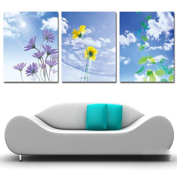 New Arrival Elegant Flowers And Blue Sky Cross Film Wall Art Prints