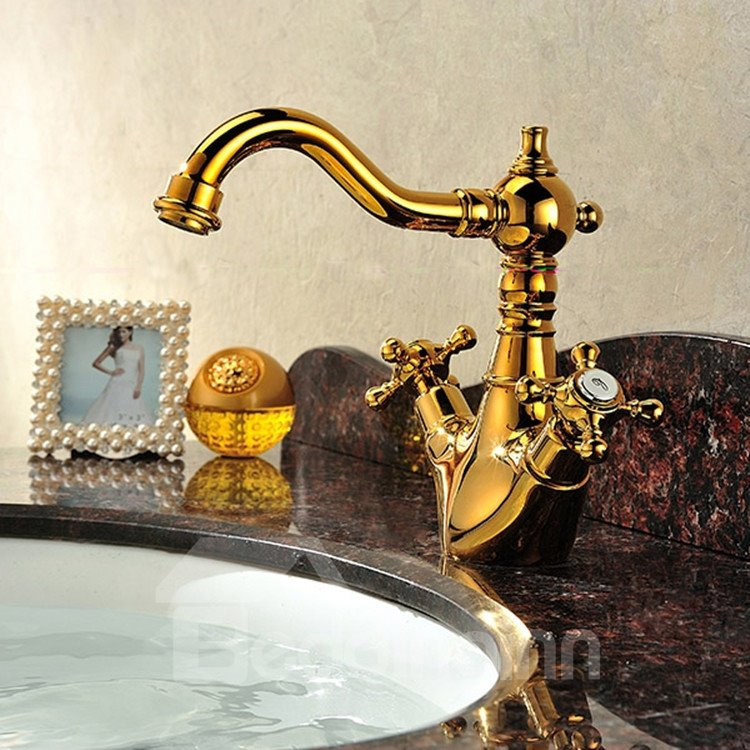 New Arrival High Quality Classic European-style  Gold Bathroom Sink Faucet