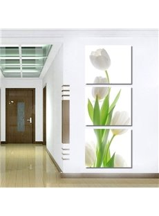 16×16in×3 Panels White Tulip Hanging Canvas Waterproof and Eco-friendly Framed Prints