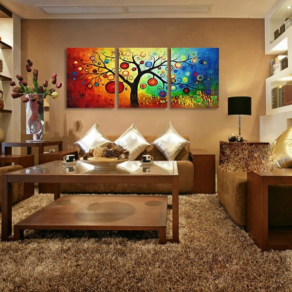 16×24in×3 Panels Rainbow Tree Pattern Hanging Canvas Waterproof and Eco-friendly Framed Prints