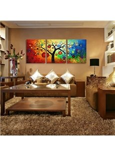 Amazing Rainbow-liked Trees Pattern Framed Cross Film Wall Art Prints