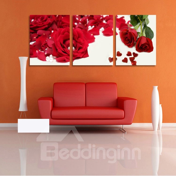 New Arrival Red Roses And Leaves Cross Film Wall Art Prints