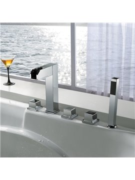 New Arrival High Quality Color Changing Widespread Waterfall Three Handles Bathtub Faucet