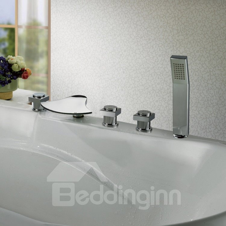 Top Selling High Quality LED Color Changing Widespread Waterfall Bathtub Faucets