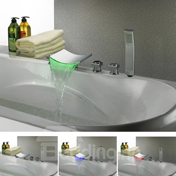 New Arrival High Quality Gorgeous LED Color Changing Three Handles Bathtub Faucet