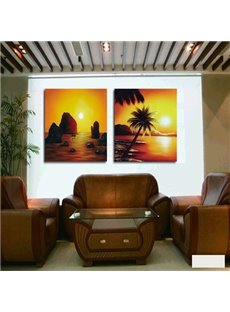 New Arrival Cconut Tree And Sunrise Cross Film Wall Art Prints