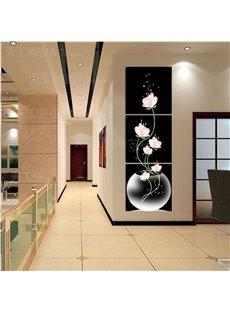 16×16in×3 Panels Pink Flowers in Vase Hanging Canvas Waterproof Eco-friendly Black Framed Prints