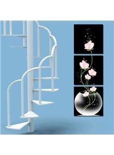 16×16in×3 Panels Pink Flowers in Vase Hanging Canvas Waterproof Eco-friendly Black Prints