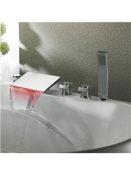 New Arrival High Quality LED Color Changing  Square Head Three Handles Bathtub Faucet