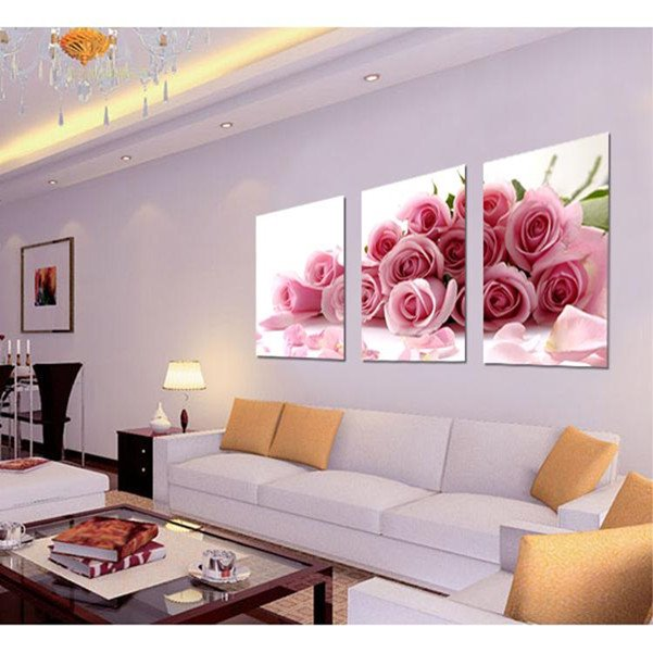 New Arrival Piled Pink Roses Film Wall Art Prints
