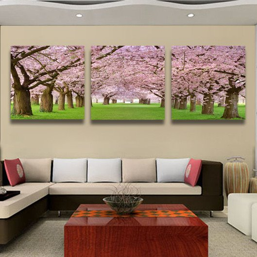 Romantic Pink Cherry Blossom Pattern Framed Film Wall Art Prints