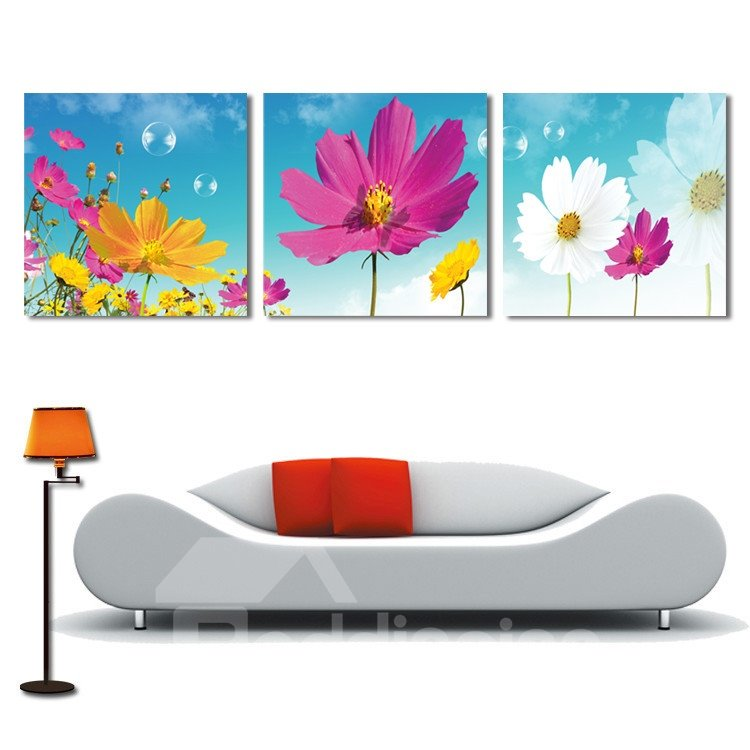 New Arrival Beautiful Flowers Under The Blue Sky Film Wall Art Prints