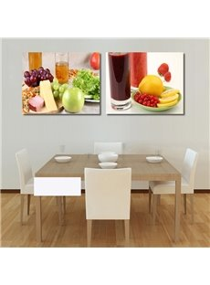 Delicious Food And Beverage Pattern 2-Panel Waterproof and Eco-friendly Large Art Prints