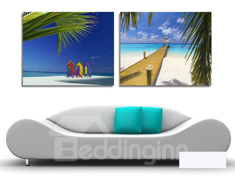 New Arrival Romantic Beach Blue Sky And White Cloud Film Wall Art Prints
