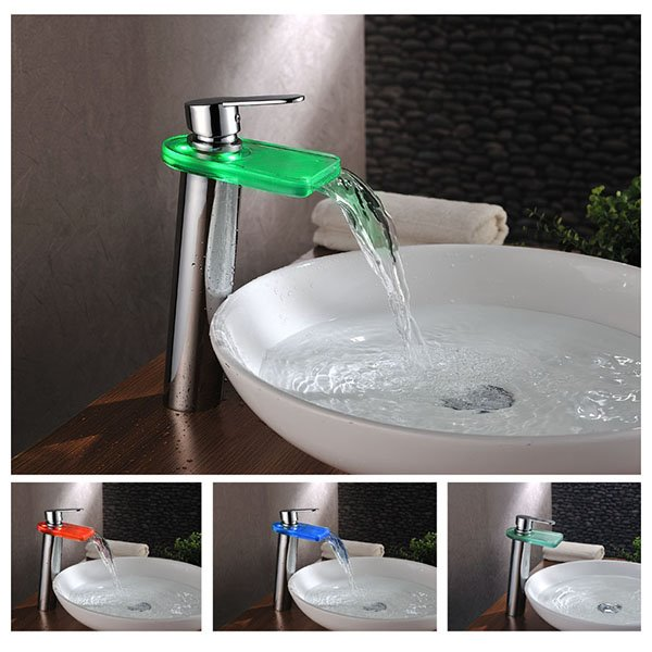 Elegant High Quality LED Color Changing Bathroom Sink Faucet