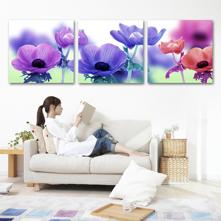 New Arrival Pink And Orange Flowers Film Wall Art Prints