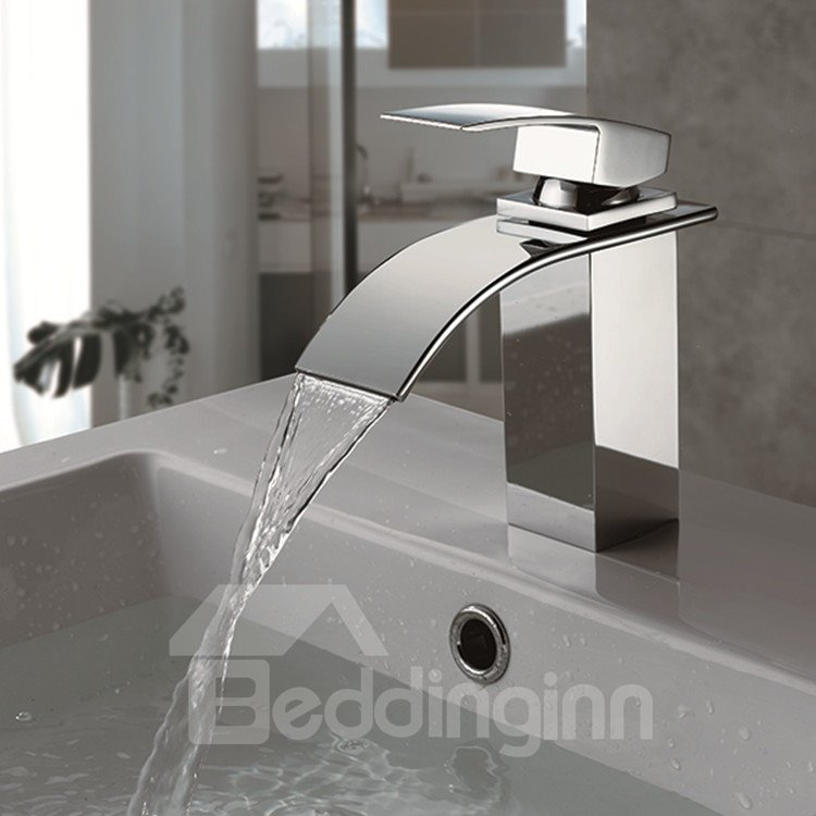 Single Handle/Hole Finish Chrome Waterfall Bathroom Sink Faucet