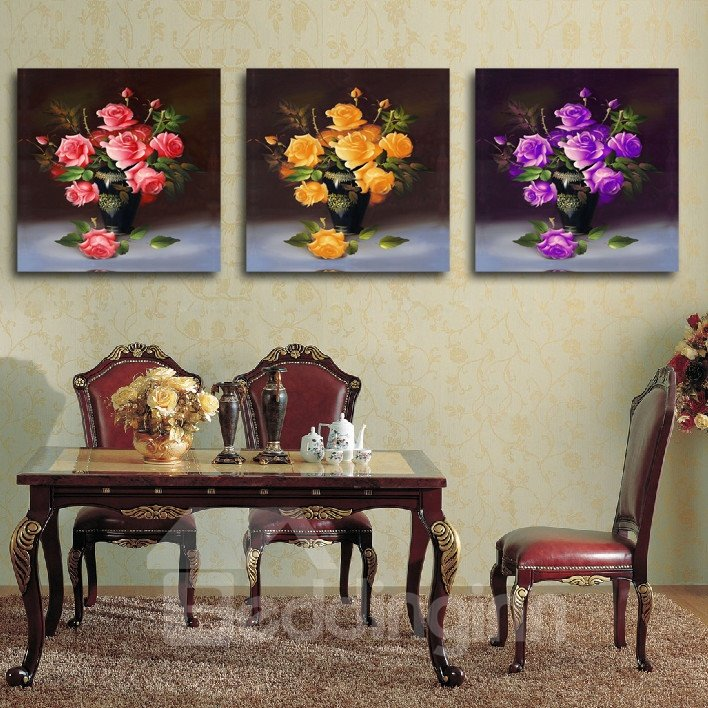 New Arrival Pink Yellow And Purple Roses In The Bottle Film Wall Art Prints