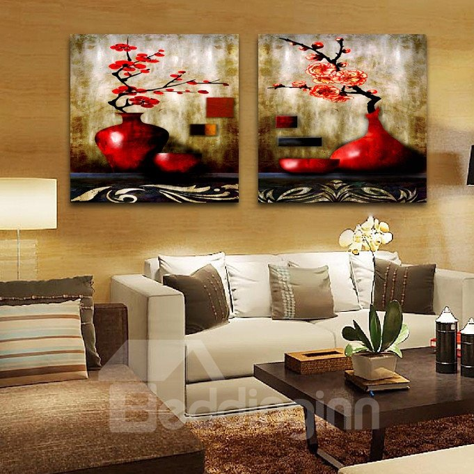16*16 in*2 Panel Amazing Red Blooming Flowers In The Red Bottle Film Wall Art Prints