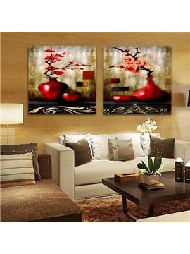 Amazing Red Blooming Flowers In The Red Bottle Film Wall Art Prints