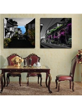 New Arrival Ancient Architecture With Flowers Surrounded Film Wall Art Prints