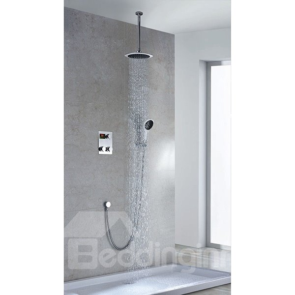 Fancy High Quality Thermostatic Digital Display Round Shower Head Faucet