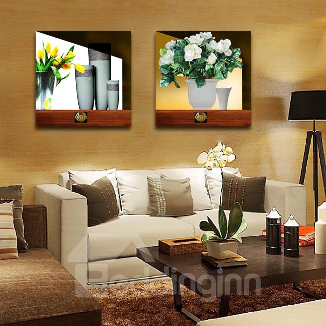 New Arrival Pure White And Yellow Flowers In The Flowerpot Film Wall Art Prints