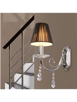 Tempting Elegant Fabric Shade Crystal Wall Light