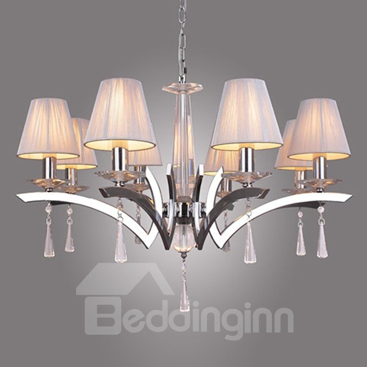 Elegant Crystal Drops Decorated Chandelier with 8 Lights